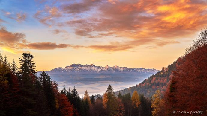 Przełęcz Szopka i Tatry o wschodzie. W drodze na Trzy Korony.