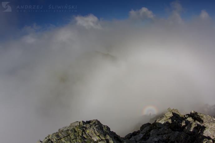 Widmo Brockenu ze szczytu Buteanu. Fogarasze, Rumunia.