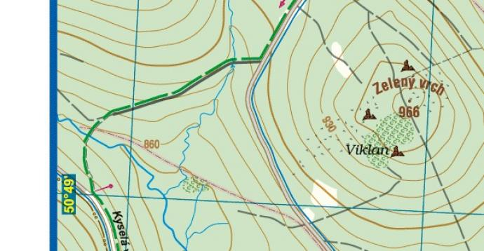 Fragment mapy Gór Izerskich wydawnictwa Galileos, pokazujący siatkę odwzorowania