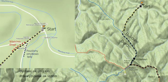 Szlak przez Bukowe Berdo. Źródło mapa-turystyczna.pl (Zagroda żubrów, wbrew mapie, znajduje się około 2 km przed miejscowością)