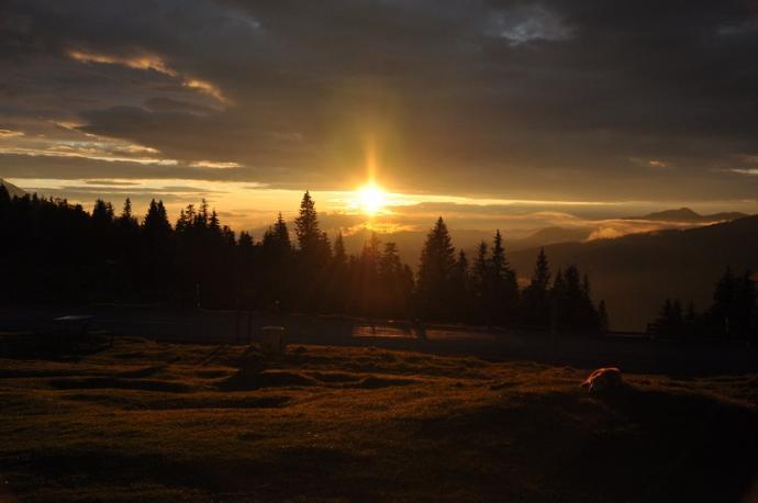 Zachód słońca przełęcz Prislop