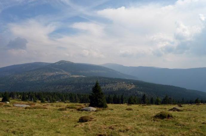 Z głównego grzbietu rozpościera się piękny widok na Karkonosze