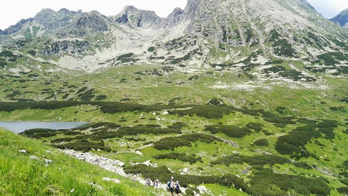 Widok na Czarny Staw ze szlaku na Szpiglasową Przełęcz. W tyle fragment grani Orlej Perci