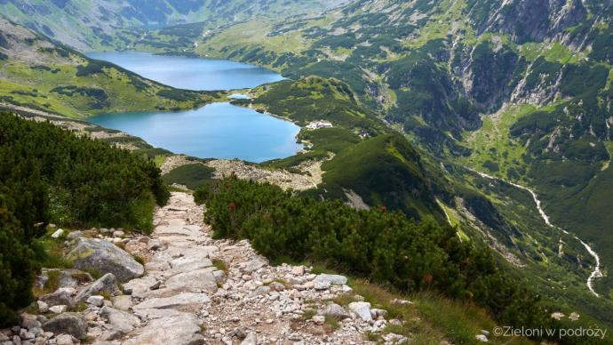 Dolina Pięciu Stawów widziana z góry. Szlak prowadzi od prawej strony kadru i wychodzi przez próg ściany stawiarskiej