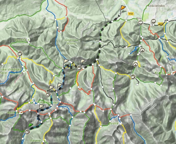 Dzień 2: Żarska Dolina, Bufet Rohacki, Rakoń. Mapa trasy