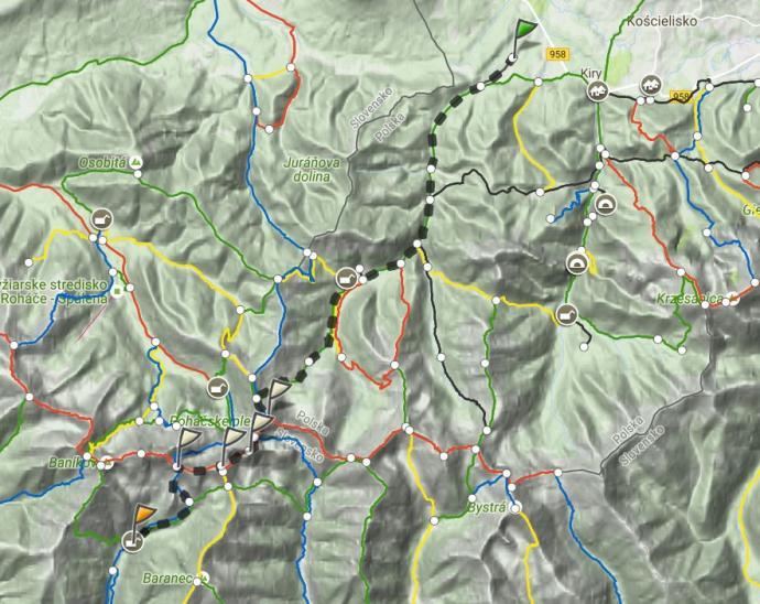 Dzień 1: Wołowiec i Roháče. Mapa trasy