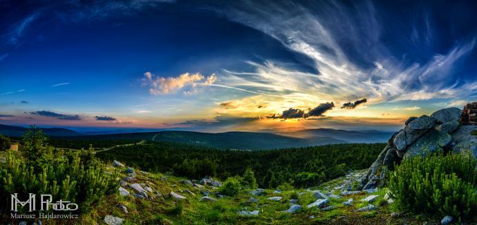 Szrenica panorama zachód słońca