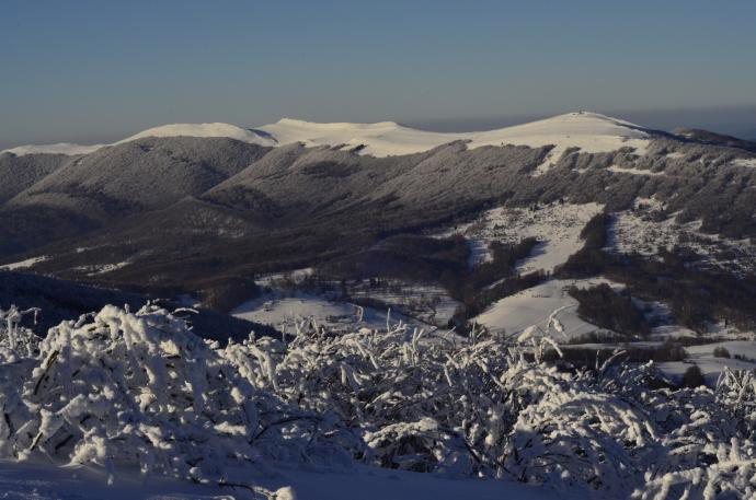 Połonina Wetlińska zimą - widok z Małej Rawki