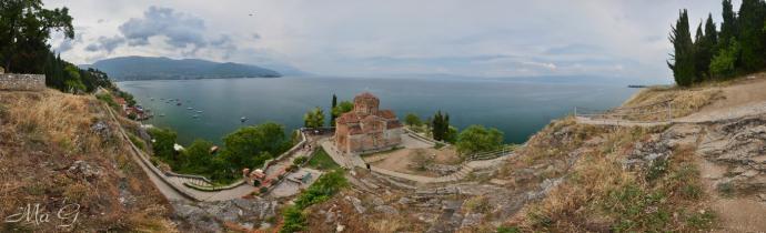 Ochryd - cerkiew Św Jowana nad brzegiem jeziora