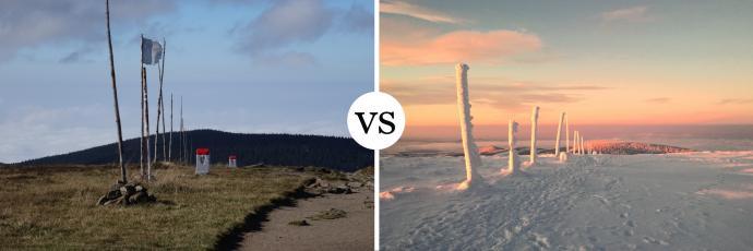 Taką różnicę robi pora dnia i roku - szczyt Śnieżnika w letni poranek i o wschodzie słońca w zimie