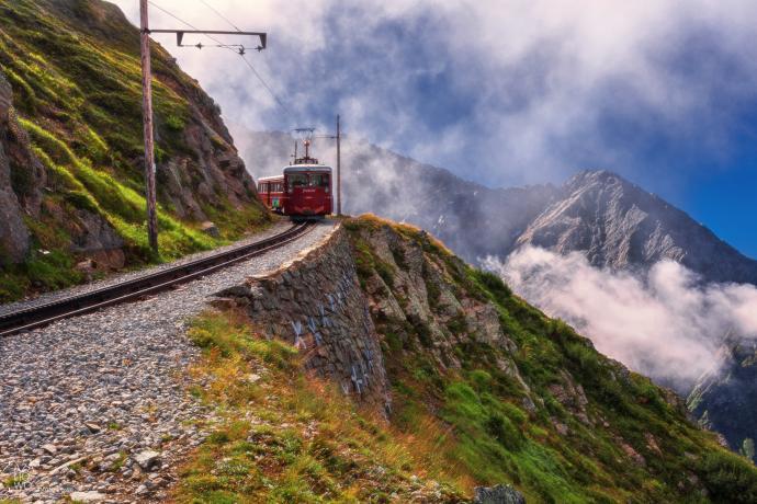 Po drodze z Chamonix w stronę Nid dAigle lokacja = Europa, Francja, Alpy autor = Patrycja tag = tramway du Mont Blanc, lato  [8752] ; scald_image tytuł = Tramway du Mont Blanc w stronę Nid dAigle