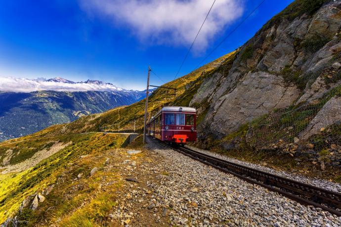 Tramway du Mont Blanc w stronę Nid d'Aigle