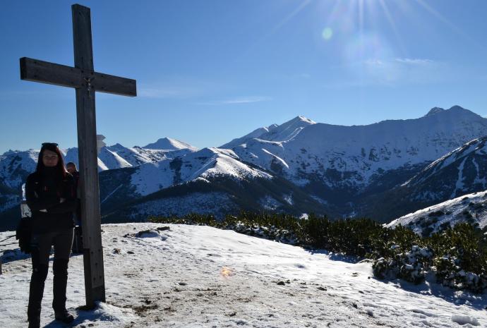 Krzyż na szczycie, a za nim Krywań, Kamienista, Trzydniowiański, Bystra, Starorobociański i Kończysty