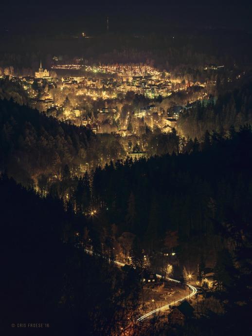 Wieczorny widok na Duszniki z Apartamenty InnWersja