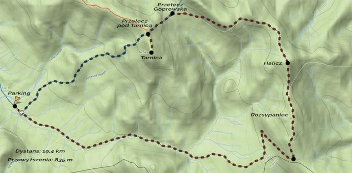Mapa prezentująca nasz szlak na Tarnicę. Źródło: mapa-turystyczna.pl