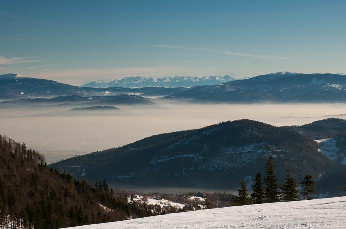 Tatry pomiędzy Babią Górą a Pilskiem ze szczytu Klimczoka
