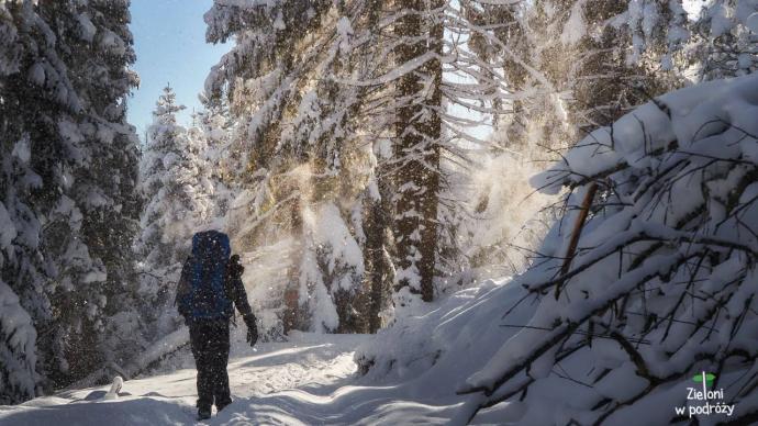 POkryte śniegiem Gorce rpezentowały się pięknie