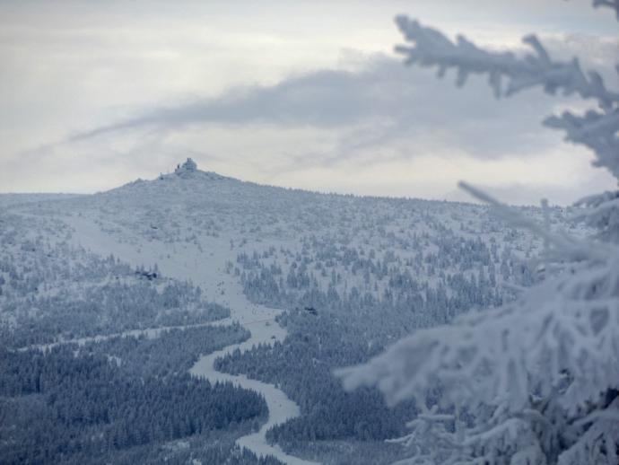 Na stokach Szrenicy mnogość narciarzy