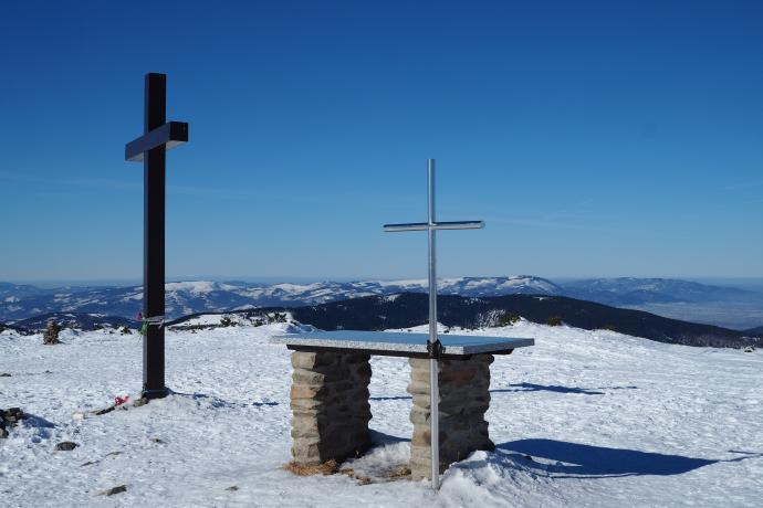 Ołtarz polowy na szczycie Pilska, ustawiony przez mieszkańców słowackiej wsi Mutne.
