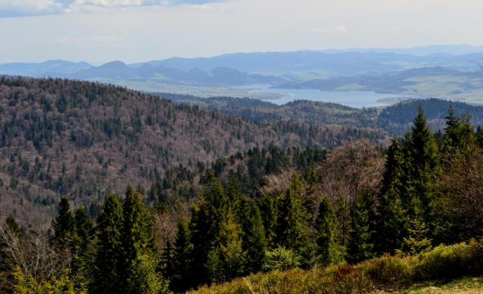 Pieniny i Jezioro Czorsztyńskie z niebieskiego szlaku