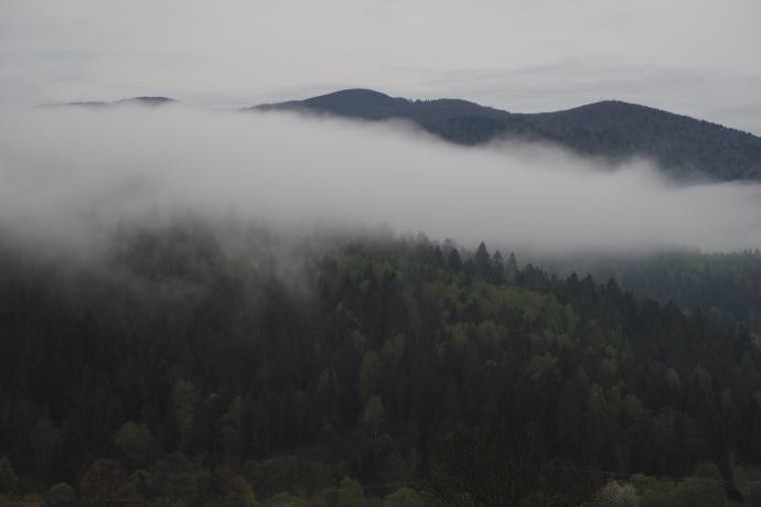 Ostatni rzut oka na spowite mgłami Bieszczady