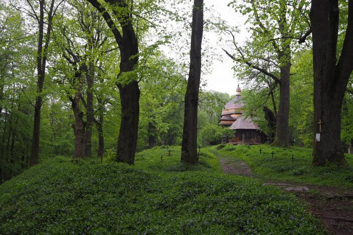 Wały ziemne na szczycie wzgórza zdradzają dawny charakter obronny kompleksu