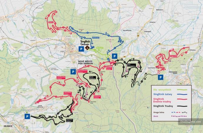 mapa tras rowerowych
