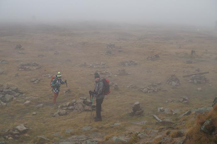Wierzchołek Śnieżnika jest bardzo rozległy - we mgle wygląda trochę jak preria