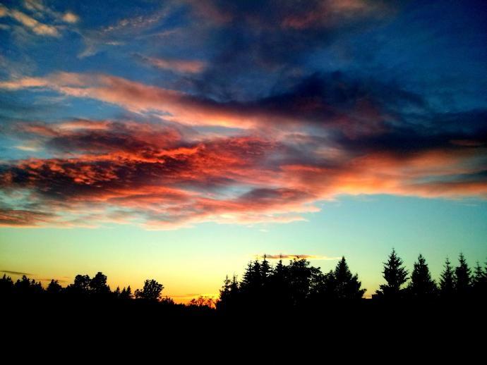 Widok na niebo nad schroniskiem, z polany