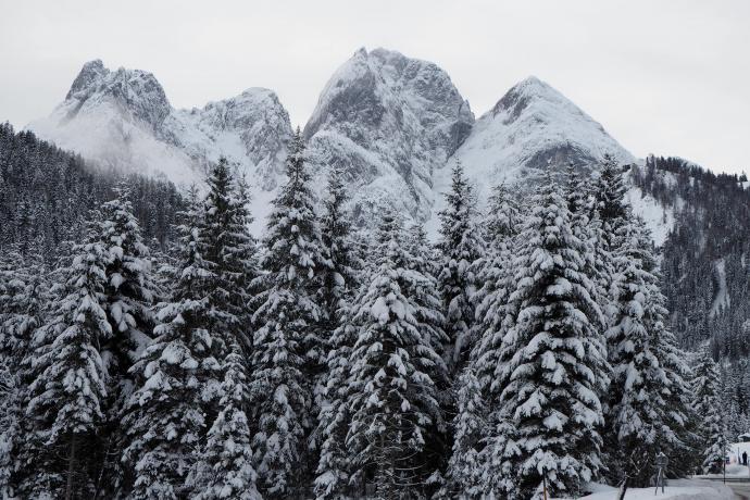 W panoramie wyróżnia się Donnerkogel i inne szczyty Salzburskich Dolomitów.