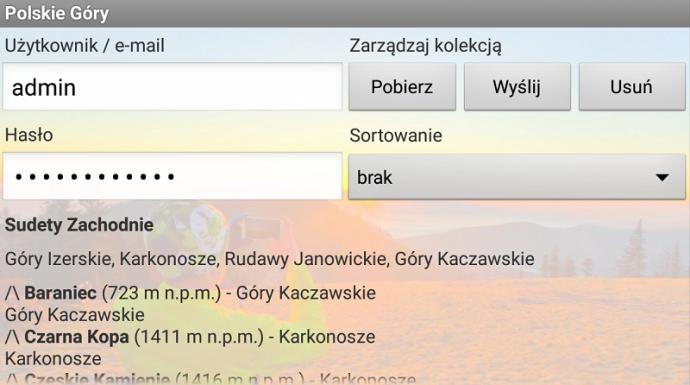 Kolekcja szczytów w aplikacji Polskie Góry