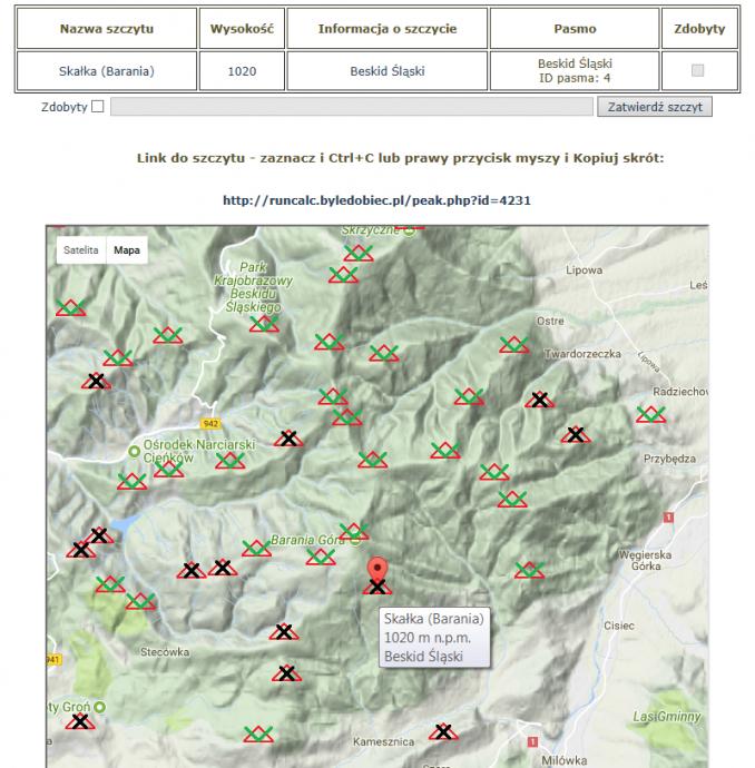 Kolekcja szczytów na mapie