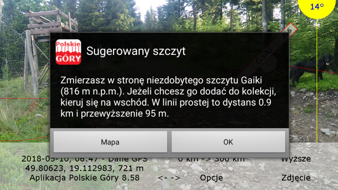 Sugerowany szczyt w aplikacji mobilnej Polskie Góry