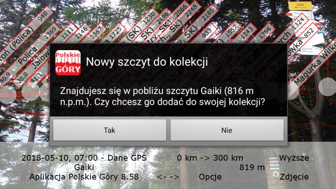 Dodanie szczytu do kolekcji w aplikacji mobilnej Polskie Góry