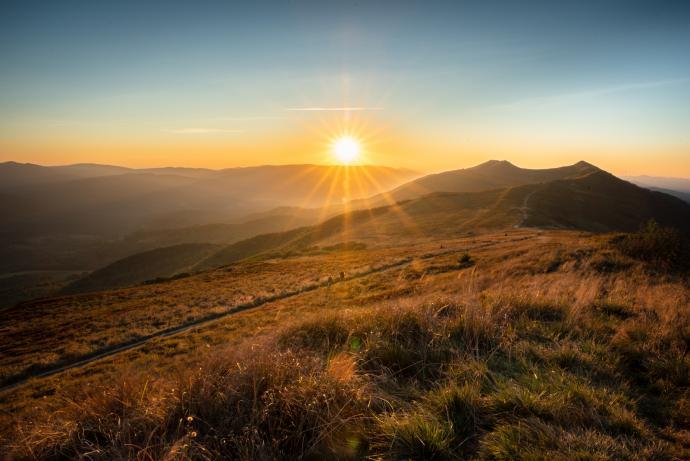 Zachód słońca na Połoninie Wetlińskiej.