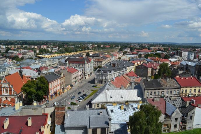 Widok na część Śródmieścia z wieży zegarowej