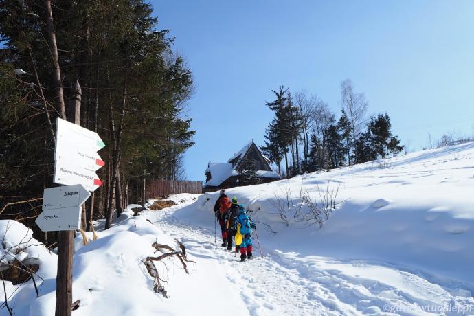 Szlak na Kopieniec opuszcza szosę Oswalda Balzera w Cyrhli.