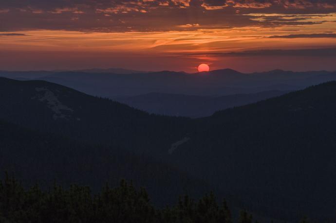 Zachód słońca w Gorganach