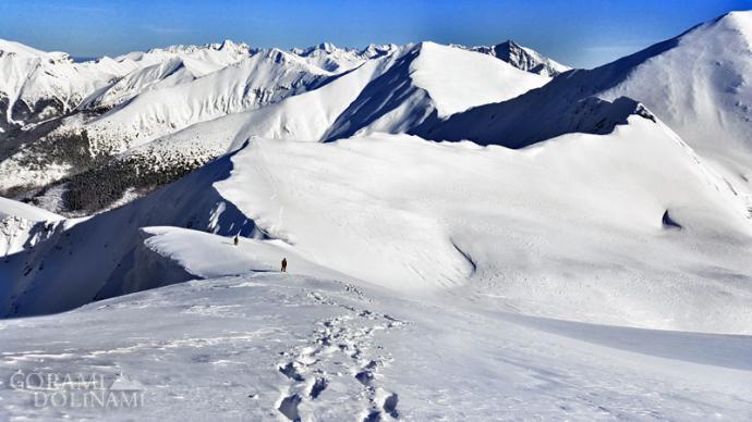 Tatry Zachodnie zimą, zejście ze Starorobociańskiego Wierchu