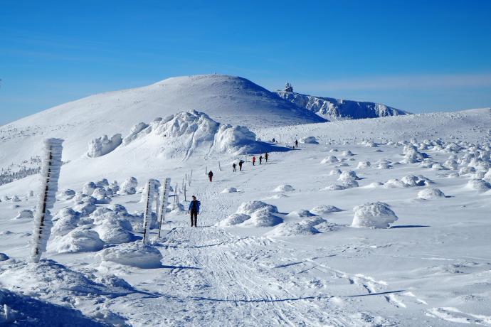 Szlakiem grzbietowym wędruje dziś mnóstwo turystów na biegówkach.