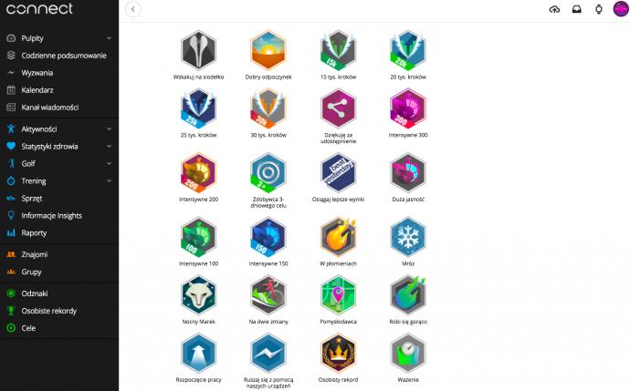 Odznaki w aplikacji Garmin Connect