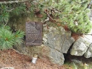 Tablica upamiętniająca zaledwie 20-letniego taternika, który zginął w trakcie wspinaczki w 2011 roku