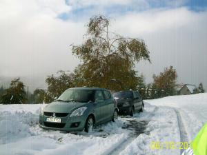 przeparkowane auta z dala od drzew