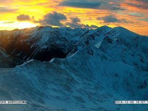 Zachód słońca i Dolina Goryczkowa z Kasprowego Wierchu