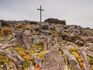 Ani się spostrzegliśmy, a tu już szczyt. Corrán Tuathail, (1038 m npm.)