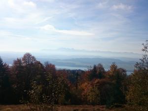 Okolice Runka - widok na Jezioro Czorsztyńskie, Pieniny Spiskie i Tatry Wysokie