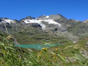 Widok z okolic Passo del Bernina 2330 m n.p.m. Przełęcz jak na razie jest najwyższym miejscem, na jakie dotąd wjechałem.