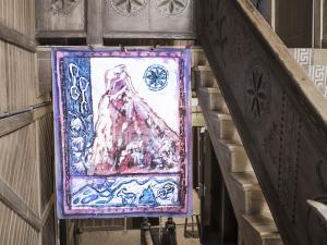"Obraz ""Mnich - droga klasyczna"" na schodach zabytkowego Schroniska PTTK Przy Morskim Oku"