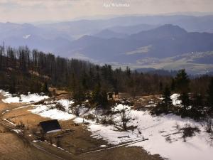 Widok z wieży widokowej - ostatnie resztki śniegu
