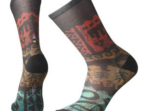 SMARTWOOL Curated Socks - model M's Jaguar Print Crew, kolor Tibetan Red